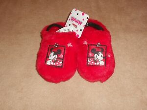 NEW, TODDLER GIRLS DISNEY MINNIE MOUSE PLUSH CLOG SLIPPERS, SIZE 9/10