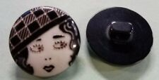 Vintage Flapper Face Button Black Plastic Shank - Powder Puff Garter Betty Boop