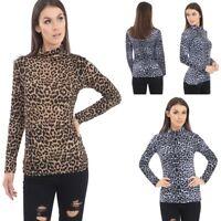New Women's Leopard Print Long Sleeve Polo Neck T-Shirt Top Size UK 8-26