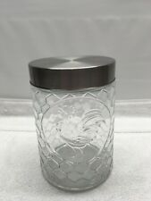 """Glass Rooster Canister Cookie  Jar Embossed Honeycomb Coffee Sugar  6.5"""" Tall"""