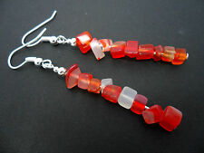 A PRETTY PAIR OF RED/CLEAR/AMBER CHIPS  DANGLY  EARRINGS. NEW.