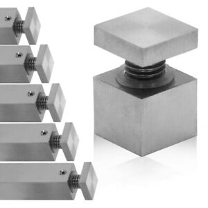4 mirror holder mounting brackets wall glass plate stainless steel square Ø1,8cm