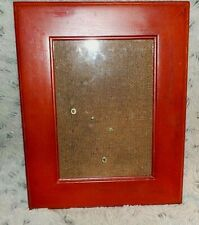 """Red painted wood frame, 5"""" x 7"""", regular clear glass, hanging brackets"""