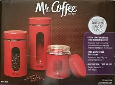 Kitchen coffee Food Storage Glass Canister Mr Coffee Java Bar 3 Piece Set Red