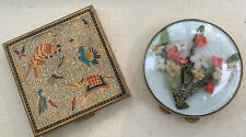 2 Vintage Compacts One Volupte Glass Domed Flowers