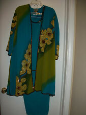 MIDNIGHT VELVET WOMEN 3pc BEADED DUSTER PANTSUIT SIZE 3X GREEN MULTICOLOR FLORAL
