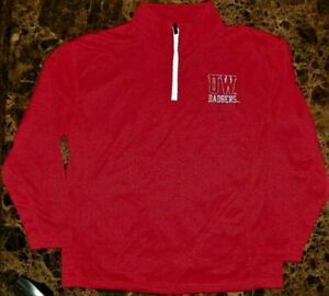 NEW NCAA Wisconsin Badgers Men's Red Pullover Track JACKET Sz L 42 / 44