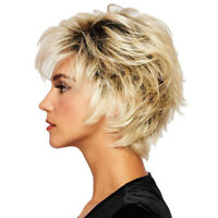 Short Human Hair Wig Layered Gradient Color Oblique Bangs Hairpieces Heat OK