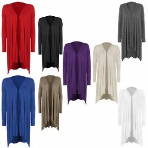 Plus Size Ladies Hanky Hem Women Jersey Long Sleeve Top Waterfall Open Cardigan