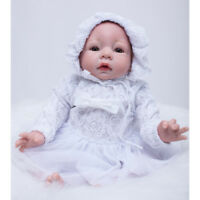 White Doll Clothing Set Lace Dress & Hat For 20-22'' Newborn Baby Doll Accs