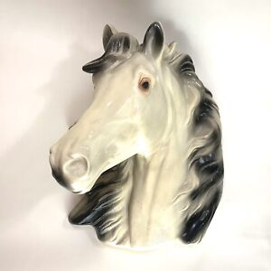 Vintage Chalkware White Horse Head Dimensional Wall Bust Mid Century Equestrian