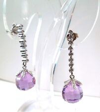 New Amethyst 10 ct Briolette Diamond .08ct 14kt WG Dangle Earrings * GAL Apprsl