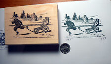 Child sledding with puppy vintage style rubber stamp P37