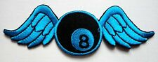 #6 8 EIGHT BALL BILLIARDS POOL WING FLY Embroidered Iron on Patch Free Shipping