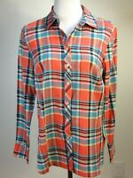*NEW* TALBOTS L/S Lightweight Woven Cotton PLAID Shirt - S, Coral Turquoise