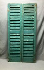 Pair Vtg House Window Wood Louvered Shutters 14X59 Shabby Old Chic Green 207-20B