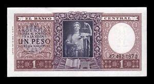 B-D-M Argentina 1 Peso L. 12.962 & 13.571 - 1957 Pick 263b Serie D SC- aUNC