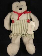 """Woof & Poof 18"""" Musical Polar Bear Green Cream Striped Overalls Vintage New Tag"""