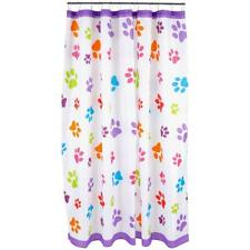 Paws Galore™ Fabric Shower Curtain with 12 Hooks - Paw Print Shower Curtain
