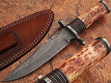 Custom Damascus Steel Hunting Knife Giraffe Bone Handle GI Strait-Back Forged