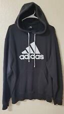 ADIDAS Men's Big Logo Sweatshirt Pullover Hoodie Sz L Lg Faded Black Gray Mesh