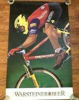 "Warsteiner Beer Poster Advertising Man Cave Cycling Biking Vintage 36"" X 22.5"""