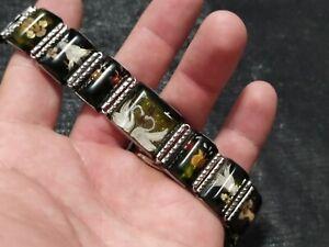 USSR Watch Bracelet Rose, Swans Handmade Plexiglass band Soviet Prison Art70-80s