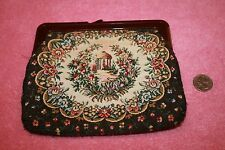 Vintage Embroidery Material Clutch Purse Plastic Rim & Closer