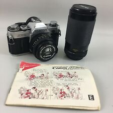 Canon AE-1 with 50mm & 70-300mm Lens 35mm Film Camera w/ Manual