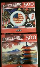 New 500 piece jigsaw puzzle - Puzzlebug (Lot of 2) Yummy America and Japan