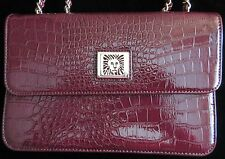 AK Anne Klein Burgundy Alligator Reptile Handbag New Without Tags