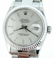 Rolex Datejust Mens Stainless Steel & 18K White Gold Silver w/ Oyster Band 16234