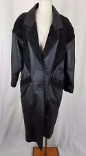 Charles Klein Black Leather Maxi Motorcycle Biker Duster Trench Coat Womens M
