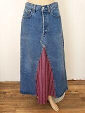 New listing Vtg Levi'S Denim Patchwork Maxi Festival Skirt High Waisted Boho Hippy sz 6/8