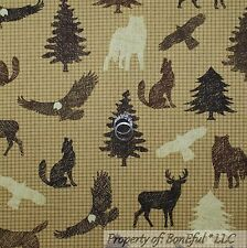 BonEful Fabric FQ Cotton Quilt Brown Check Log Cabin Tree Eagle Deer Bear Coyote