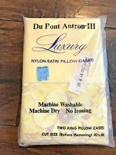 VINTAGE New Old Stock Yellow DU PONT ANTRON 3 Luxury King Pillow Cases Lace