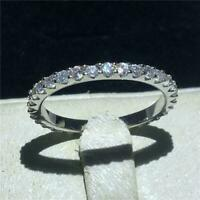 Certified 1.00 Ct Round Cut Diamond Eternity Wedding Band Ring 14K White Gold