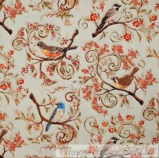 BonEful Fabric Cotton Quilt Green Gray Bird Red Berry Orange Flower Tree L SCRAP