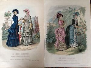 2 French fashion engravings Ladies &dog1882  La mode Illustree Water Coloured