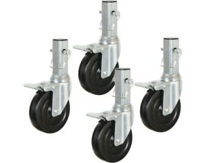 """5 in. Locking Caster Wheel for Baker Style Rolling Scaffold H.D. Hard Rubber 1"""""""