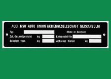 Typenschild - NSU alle Modelle Auto - TT TTS 1000 1200 Prinz4 Spider Sport Ro80