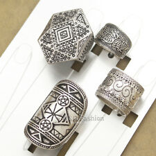Pack 4 Men Silver Tribal Celtic Pentacle Triangle Wicca Pagan Etched Band Ring