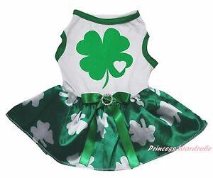 St Patrick Day White Cotton Top Clover Paint Green Skirt Pet Dog Puppy Cat Dress
