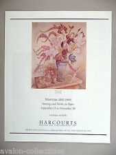 Marevna Art Gallery Exhibit PRINT AD - 1990 ~~ Fleurs