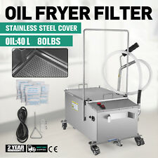 40L Oil Filter Oil Filtration System Cart Filtering Machine 80Lbs Fryer Filter