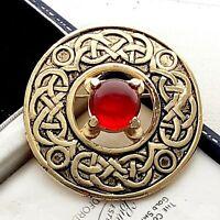 Lovely Signed DMJ Vintage Celtic Scottish Goldtone Brooch Pin - Ruby Red Stone
