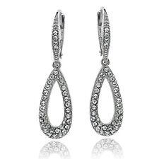 Swarovski Elements Open Teardrop Leverback Dangle Earrings in Brass
