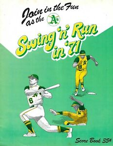 1971 baseball program Cleveland Indians Oakland A's Athletics UNSCORED