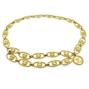 CHANEL CC Logos Charm Gold Chain Belt Accessories 25 Authentic Vintage 35494