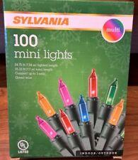 Sylvania Christmas Lights 100 Mini Lights Multi Color Holiday 2.5 inch spacing